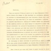 Lettre de Belot à Poincaré en 1912