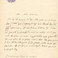 Lettre de Henri à sa mère Eugénie Launois vers 1873