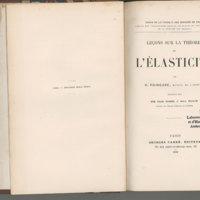 Cours de Physique mathématique : Leçons sur la théorie de l'élasticité